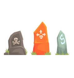 three roadside stones with pointers vector image