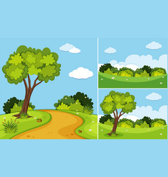 three scenes with trees and grass vector image