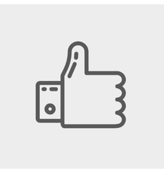 Thumbs up thin line icon vector image