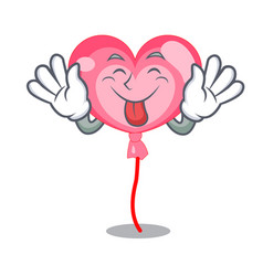 tongue out ballon heart mascot cartoon vector image