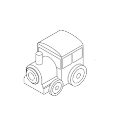 Toy locomotive icon isometric 3d style vector image vector image