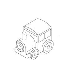 Toy locomotive icon isometric 3d style vector image