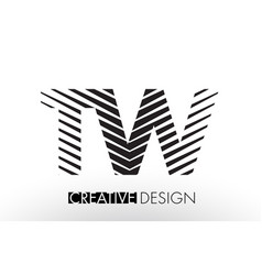 Tw t w lines letter design with creative elegant vector