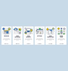 Web site onboarding screens data exchange sync vector