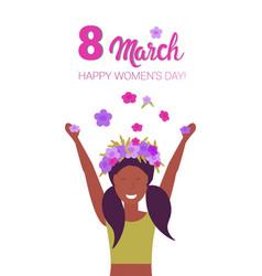 woman in wreath of flowers raising hands happy vector image