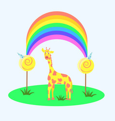 Yellow giraffe under the rainbow vector