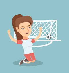 young caucasian soccer player celebrating a goal vector image