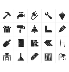 Black Building and home renovation icons vector image