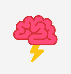 brain with lightning brainstorm concept vector image vector image
