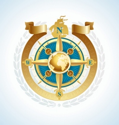 compass with globe and ribbon vector image vector image
