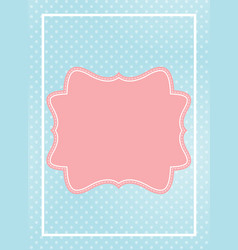 cute pink frame in blue dotted background vector image