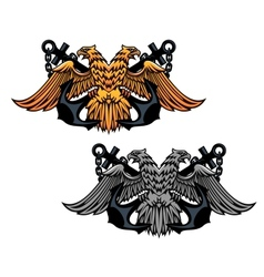 Double head eagle with vintage anchor vector image vector image