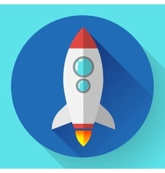 Flat rocket icon Startup concept Project vector image vector image