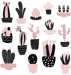 pink cacti in pots vector image vector image