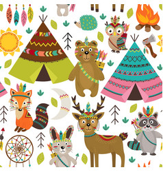 seamless pattern with tribal animals and elements vector image vector image