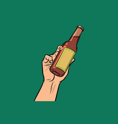 bottle with drink in hand vector image vector image