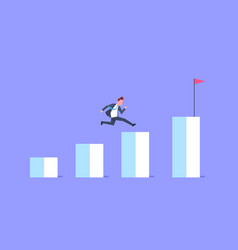 business man run financial bar graph businessman vector image vector image
