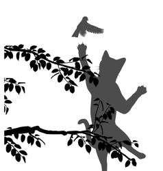Cat hunting bird vector image vector image