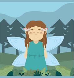 forest fairy cartoon vector image