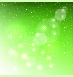 glowing snowflakes on green background vector image vector image
