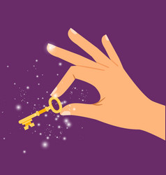 golden sparkling key in hand vector image vector image