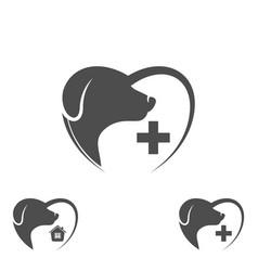 logo dog in the heart dog logo abstract design vector image