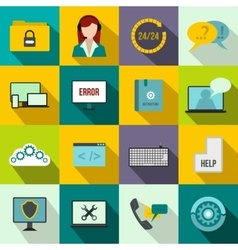 Support call center icons set flat style vector image