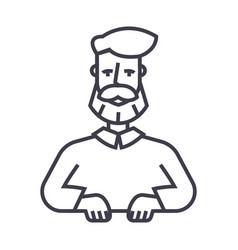 beard man line icon sign on vector image vector image