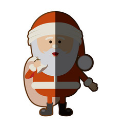 color silhouette of santa claus with gift bag and vector image vector image