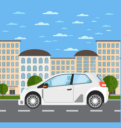 family universal car in urban landscape vector image vector image