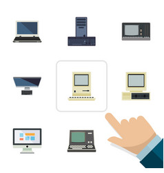 Flat notebook set of pc computing technology and vector