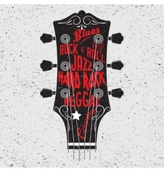 Guitar head and lettering vector image