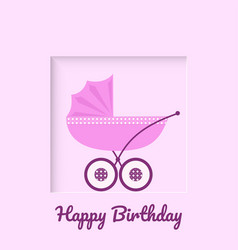 greeting card with pink baby stroller vector image
