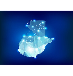 Guatemala country map polygonal with spot lights vector image vector image