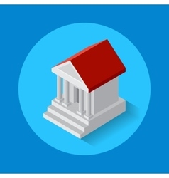 icon of bank building Flat isometric style vector image