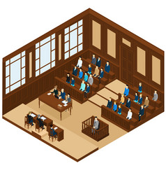isometric judicial session room template vector image