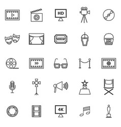 movie line icons on white background vector image vector image