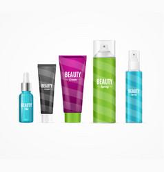 realistic beauty template bottles set vector image