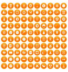 100 emblem icons set orange vector