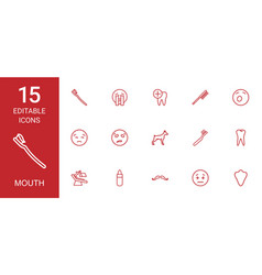15 mouth icons vector