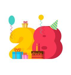 28 year greeting card birthday 28th anniversary vector image
