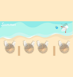 Aerial view summer beach in flat design style vector