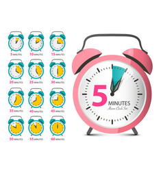 alarm clock set retro analog time indicator vector image