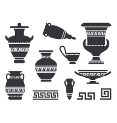 Ancient black greek vases set vector