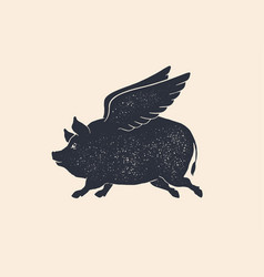 Angel piggy pig with wings vintage retro print vector