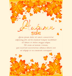 Autumn poster with orange maple leaves vector