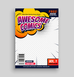 Awesome comic book cover page design template vector