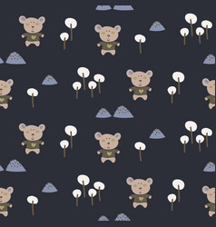 babear in night woods seamless cartoon vector image