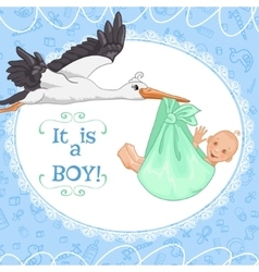Baby greetings card with stork and baby boy eps10 vector