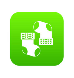 Baby socks icon digital green vector